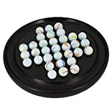 ITOS365 Wooden Handmade Games Black Solitaire Board with Glass Marbles - Gifts for Kids and Adults
