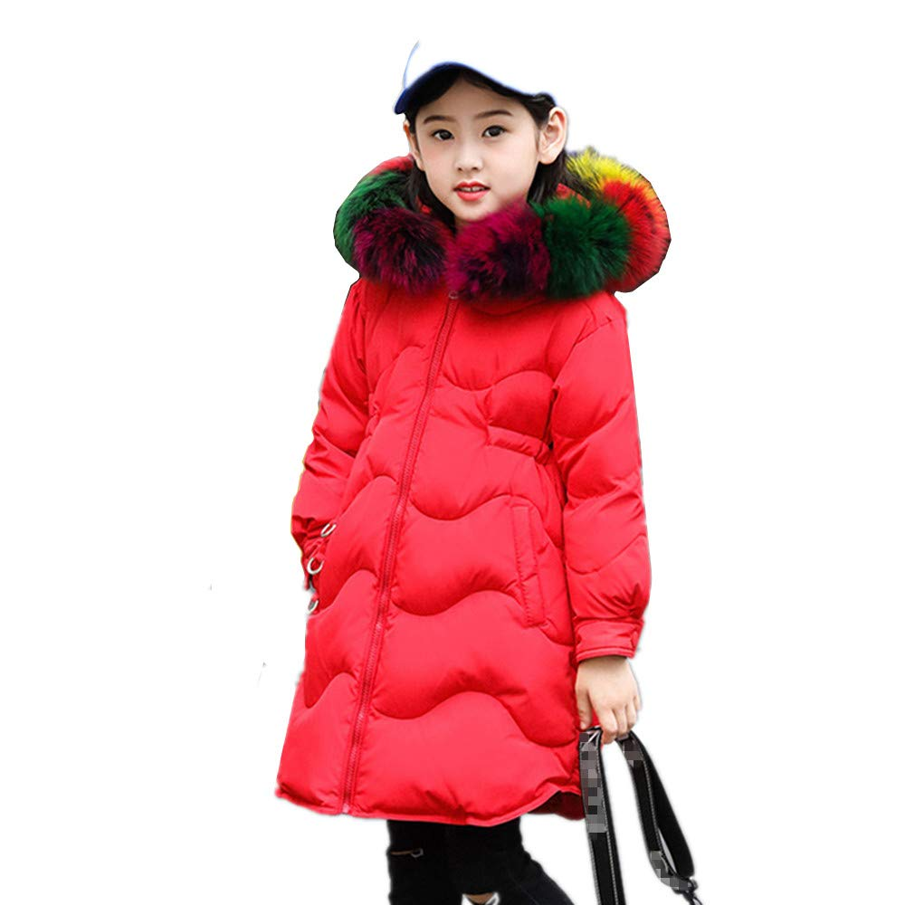 ZPW Big Girl Winter Parka Down Coat Big Fur Hooded Thick Outerwear Jacket
