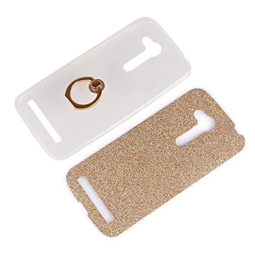 Moonmini Asus ZenFone Go ZB452KG 4.5 inch. Case Cover Sparkling Slim Fit Soft TPU Back Case Cover with Ring Grip Stand Holder 2 in 1 Hybrid Glitter Bling Bling TPU phone Case Cover (Golden)