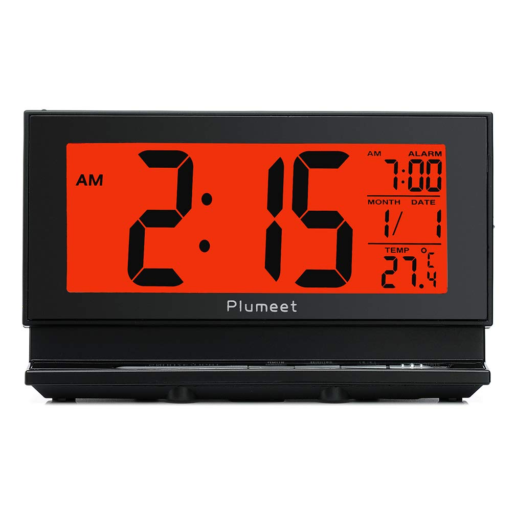 Plumeet Upgrade Version Digital Alarm Clock with Auto-Night Light & Temperature, Snooze, Large LCD Numbers, Easy to Set, Battery Operated Only (Black) by Plumeet