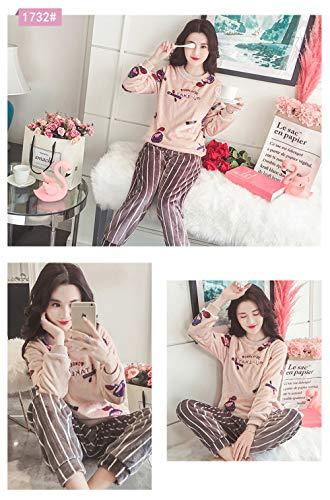 Sets Pijamas 2 Xl A Baijuxing Cálido Suave Servicio Domicilio Invierno Terciopelo Otoño De Coral Franela Manga Pantalones M Dormir Larga Mujeres E UUH1xA5q