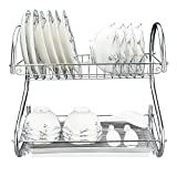 2-Tier Dish Drying Rack, 16.5L x 9.5W x 15H Stainless Steel Kitchen Sinkware Dish Rack Kitchen Supplies Drying Frame, Quick Dry with Drip Tray with Drainboard