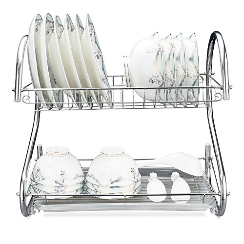 50% off 2-Tier Dish Drying Rack, 16.5L x 9.5W x 15H Stainles