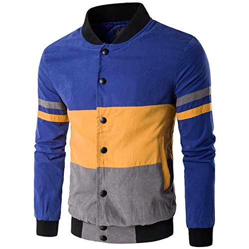 Vjibmt Un Manteau Couleur Galon Hommes Hommes Veste XL de Loisirs col de Manteau Couleur,Bleu Jaune,l