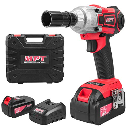Li Ion Power Wrench - MPT 21V Brushless Li-ion Cordless Impact Wrench Tool Kit,350NM Torque Variable Speed with 3000Mah Batteries and Fast Charger
