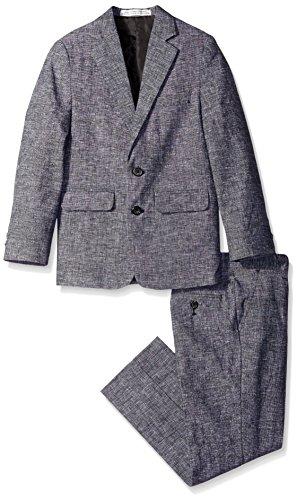 Perry Ellis Big Boys' Tickweave Suit, Black, 14 (Suits Perry Boys Ellis)