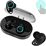 True Wireless Earbuds, Bluetooth 4.2 Earphones TWS Touch Control Mini In-Ear Headsets with Mic, Mini Stereo Sports Gym Running Sweatproof Earphone with Charging Box, for iPhone & Android (I7-BLACK)