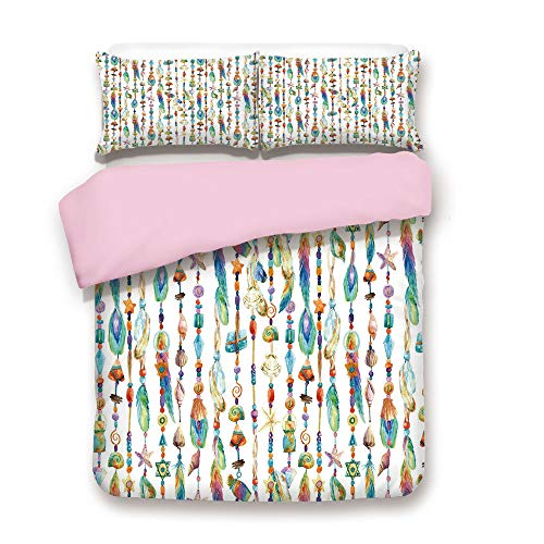 - Pink Duvet Cover Set/King Size/Watercolor Style Figures with Sea Shells Nautical Boho Style Chains Pendant Pattern/Decorative 3 Piece Bedding Set with 2 Pillow Sham/Best Gift For Girls Women/Multicolo