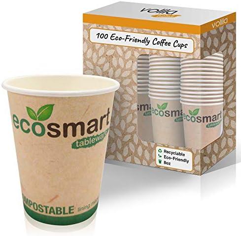 Biologische Wegwerp Afbreekbare Ecovriendelijke Koffie Bekers voor Hete Dranken Natuurvriendelijk voor Koffie Thee en Hete Chocolademelk met Geisoleerde Binnenkant8oz100 Stuks