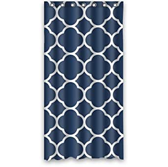 36 x 72 custom classic navy blue quatrefoil polyester fabric shower curtain 36 x. Black Bedroom Furniture Sets. Home Design Ideas
