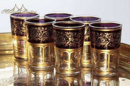 Moroccan Meknes Purple Tea Glasses (set of (Morrocan Tea Glass Set)