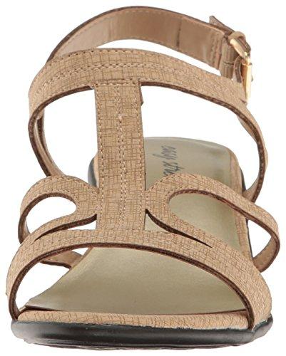 Easy Street Womens Britney Dress Sandal Beige Metallic Print aqYoE