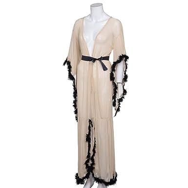 VJGOAL Mujeres Casual camisón Largo lencería camisón Ropa de Dormir Sexy tentación Transparente Bata Ropa Interior erótica(Un tamaño, Blanco): Amazon.es: ...