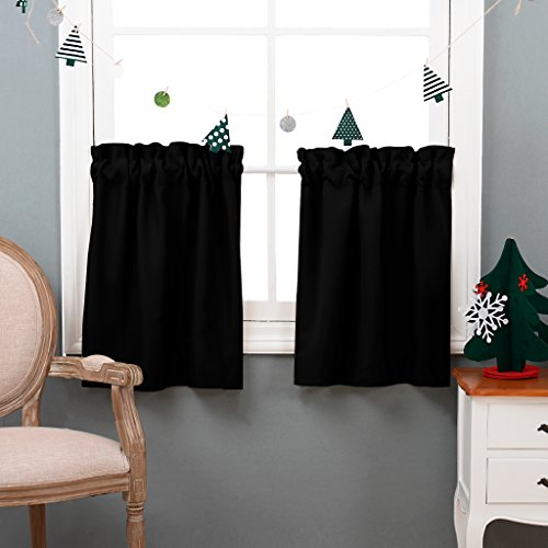 NICETOWN Half Window Blackout Curtains- Rod Pocket Tailored Tier /Valance /Cafe Curtains (One Pair, 29-Inches Wide X 24 Inches Long, Black)