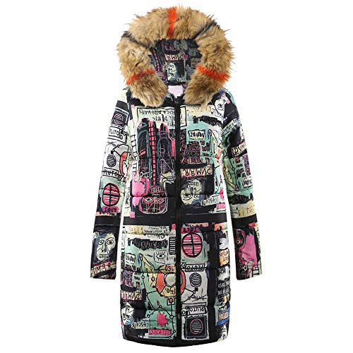 Letdown Womens Winter Long Down Cartoon Print Parka