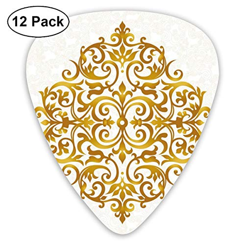 Guitar Picks 12-Pack,Victorian Style Traditional Filigree Inspired Royal Oriental Classic Print