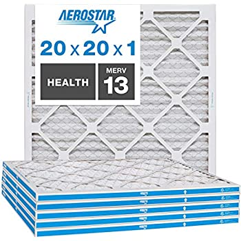 Aerostar Home Max 20x20x1 MERV 13 Pleated Air Filter, Made in the USA, 6-Pack