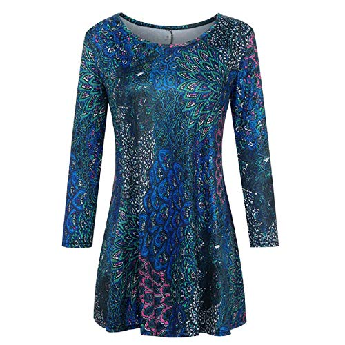 (Wintialy Fashion Womens Casual Floral Print Shirts 3/4 Sleeves O-Neck Tunic Blouse Tops Blue)
