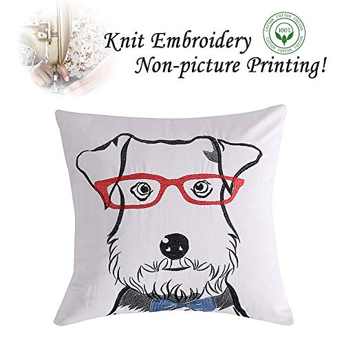 (Loom & Mill Christmas Decor Cartoon Dog Throw Pillow Case Embroidery Pillow Covers for Kids Room Sofa Car Couch Cushion Cover with Zipper Hidden 18 x 18 Inch - Schnauzer)