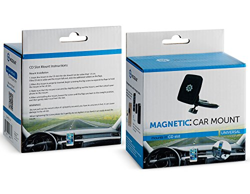 WizGear Rectangular Head Universal CD Slot Magnetic Car Mount Holder, for Cell Phones and Mini Tablets with Fast Swift-Snap Technology