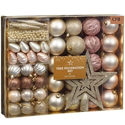 Brand New Christmas Tree Decoration Set 50pc Rose Gold