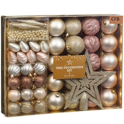 brand new christmas tree decoration set 50pc rose gold - Silver Christmas Decorations Uk
