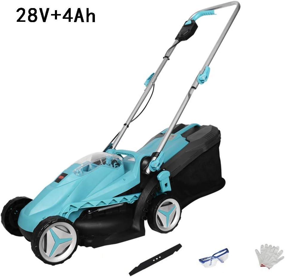 28V4Ah eléctrico sin cuerda de la Segadora Con batería de litio y cargador, ambientalmente seguro/Fast Recorte/portátil/de gran alcance/horario de verano (Color: x2 batería) ZHNGHENG