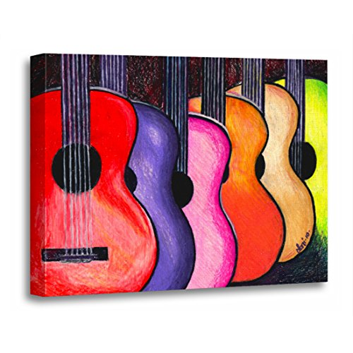 TORASS Canvas Wall Art Print Music Multicolored Guitars by Acoustic Rock Pop Folk Artwork for Home Decor 16