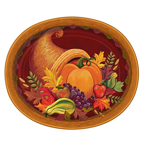 Fall Harvest Thanksgiving Oval Paper Plates, 8ct (Paper Plates Thanksgiving)