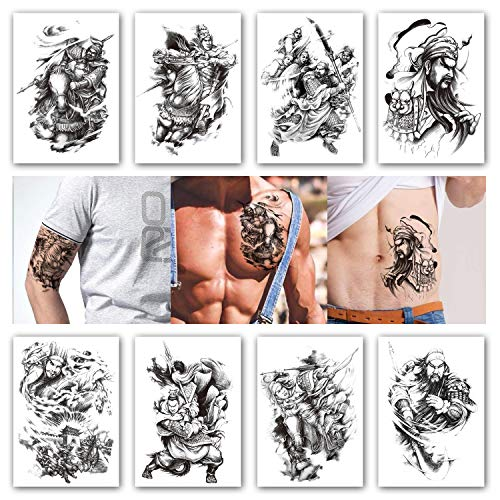9f35e117a Kotbs 8 Sheets Temporary Tattoos for Men Boys Game of the Three Kingdoms  Thrones Roles Waterproof