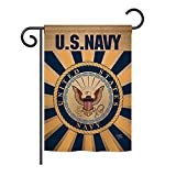 Cheap Breeze Decor – Navy Burlap Americana – Everyday Military Impressions Decorative Vertical Garden Flag 13″ x 18.5″ Printed in USA