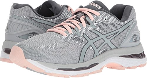 ASICS Women's Gel-Nimbus 20 Running Shoe, mid grey/mid grey/seashell pink, 9.5 Medium US