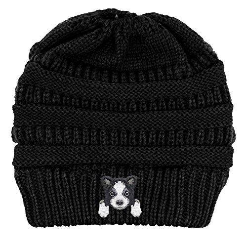 Lhotse Border Collie/Embroidered Puppy Dog Series Beanie - Stretch Fleece Cable Knit High Bun Ponytail Skullies Hat Cap - Black