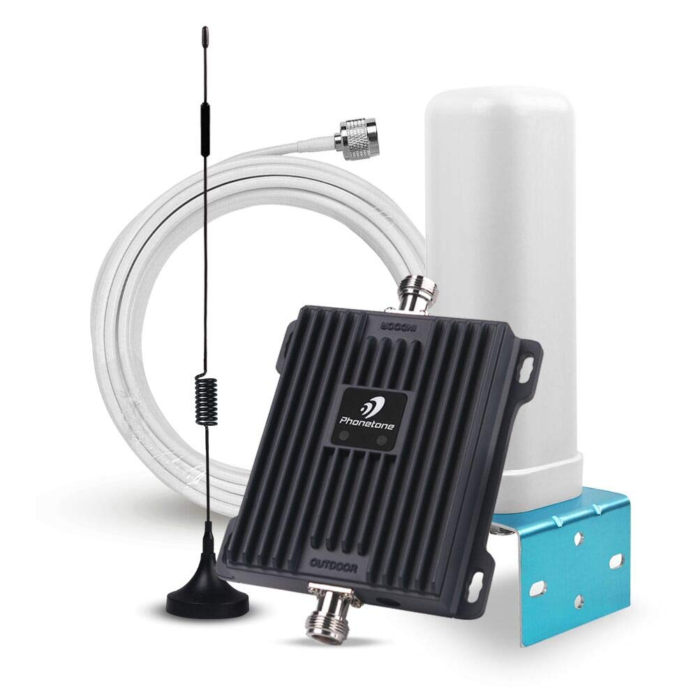 Phonetone Cell Phone Signal Booster for Home and Office - 65dB 850MHz 1700MHz Band 5 Band 4 Mobile Signal Repeater Antenna - Boost 3G 4G LTE Signal Phonetone Ltd. PH-K-CA65-AYB