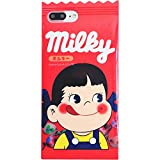 Red Milky Candy Bar Soft Case for iPhone 7 Plus / 8 Plus 7Plus 8Plus 7+ 8+ Large Size Peko Chan Little Girl Cute Lovely Kawaii Unique Shockproof Protective Japan Japanese Cartoon Gift Kids Teens Women