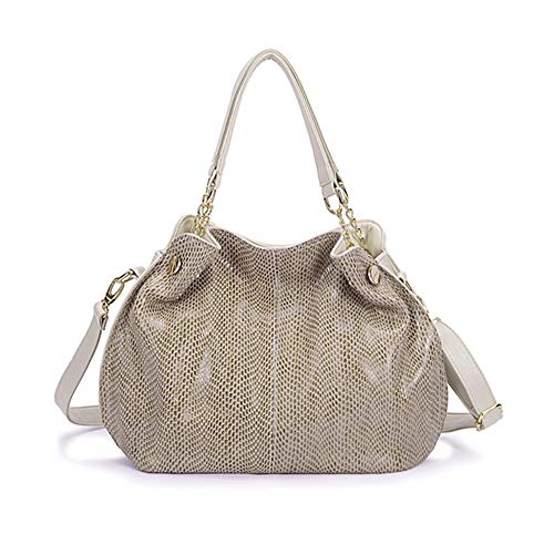 Women Genuine Leather Handbag Snakeskin Shoulder Bag Fashion Elegant Top Handle bag for Ladies, White