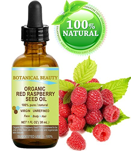 """RED RASPBERRY SEED OIL ORGANIC. 100% Pure / Natural / Undiluted / Virgin / Unrefined Cold Pressed Carrier Oil. 1 Fl.oz.-30 ml. For Skin, Hair, Lip and Nail Care. """"One of the highest anti-oxidant, rich in vitamin A and E, Omega 3, 6 and 9 Essential Fatty Acids"""". by Botanical Beauty"""
