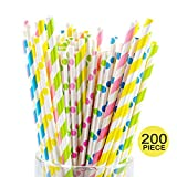 Colorful Paper Straws Strip 4 Colors Pink Yellow Green Ocean Blue for Summer Party Hawaii Theme Party 200pcs