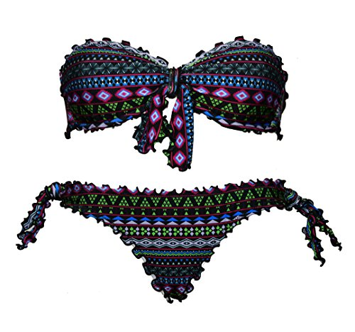 Bikini Geometrico Faraon donna a fascia arricciato con slip o brasiliana Bikinicolors   Made in Italy