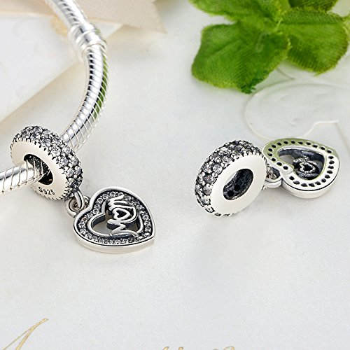 Everbling Family I Love Mom Mother 925 Sterling Silver Bead Fits Pandora Charm Bracelet (Mom Center of My Heart) by Everbling (Image #2)