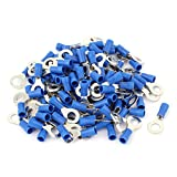 Uxcell Connector Pre-Insulated Ring Terminal RV2-6 for AWG 16-14 Wire with 120 Piece