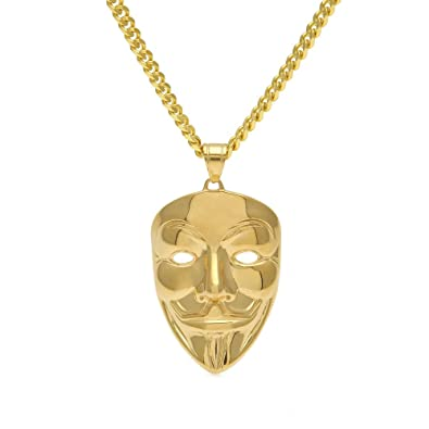 cbc08e022ab8 mcsays Dope máscara colgante chapado en oro Hombres Hip Hop colgante de  acero inoxidable para misteriosa noche fiesta  Amazon.es  Joyería