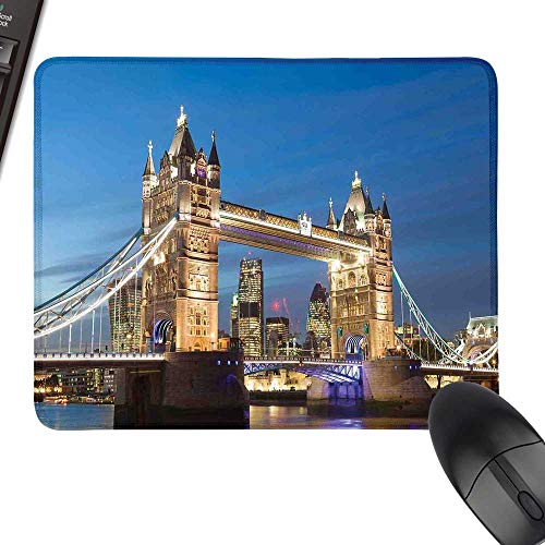 (London Extra Large Mouse Pad Scenery of Landmark Tower Bridge at Twilight with Skyscrapers England UK Image with Stitched Edges 35.4