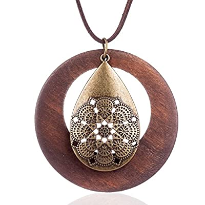 Coostuff Hotsale Vintage Handmade Wood Pendant Long necklace for women Jewelry