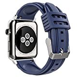 MoKo Band for iWatch Series 3, Soft Silicone Replacement Sports Band + Watch Lugs for iWatch 38mm 2017 Series 3 / 2 / 1, Midnight BLUE (Not fit 42mm Versions)