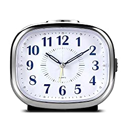 Non Ticking Desk Alarm Clock, BonyTek Analog Quartz Alarm Clock with Analog Mechanical Bell Alarm Chord Music Alarm Snooze Silent Nightlight, Battery Powered (White)