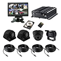 TrackSec 4 Channel AHD 720P HDD Mobile DVR Recorder with G-sensor Car Black Box Kit - 4PCS 720P Car Cameras, 7 inch Car Monitor, 2TB HDD+ 128GB SD Card, Cords and More