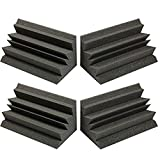 """Acoustic Foam Bass Trap Studio Corner Wall 12"""" X 6"""" X 6"""" (4 PACK) Made in USA - Color: Charcoal"""