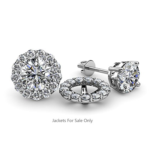 Halo Jacket for Stud Earrings 0.78 ct tw to 0.82 ct tw in 14K White Gold.