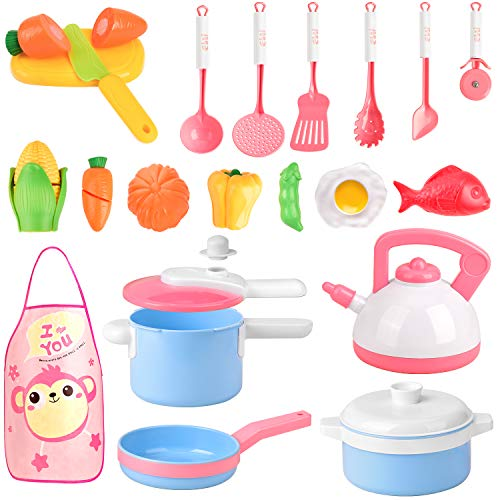 AstarX Kids Kitchen Play Toys, 28 Pcs Macaron Pretend Toy Kitchen Sets with Cookware Playset Pots and Pans Cooking Set Healthy Cutting Vegetables,Knife,Utensils,Pretend Little Chef for Kids Toddlers